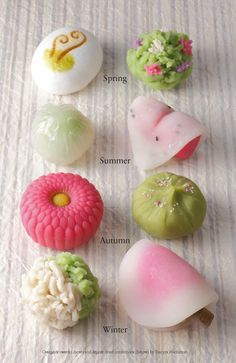 Wagashi come in an astounding variety of shapes and styles, and are variously classified according to the cooking method used, such as steaming or baking, or by their water content, namely the uncooked and very moist namagashi or omogashi, the less moist han-namagashi, and dry higashi sugar candies.