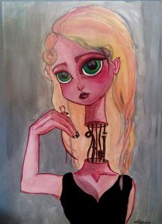 «La vergüenza» (The shame) #painting by @aleksandravss  #shame #girl #blonde #dolly #painting #aleksandrav
