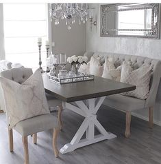 Have a Lovely evening dear IG friends - Architecture and Home Decor - Bedroom - Bathroom - Kitchen And Living Room Interior Design Decorating Ideas - Table Decor Living Room, Dining Room Design, Casa Disney, Banquette Seating In Kitchen, Home Decor Inspiration, Home Furniture, Grey Furniture, Furniture Design, Interior Design