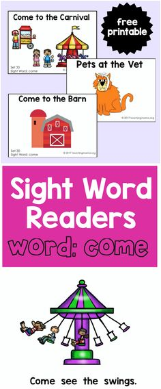"""Sight Word Readers for the Word """"Come"""" - Teaching Mama Sight Word Booklets, Sight Word Readers, Sight Words List, Teaching Child To Read, Teaching Sight Words, Sight Word Activities, Kindergarten Reading Activities, Literacy Activities, Reading Skills"""