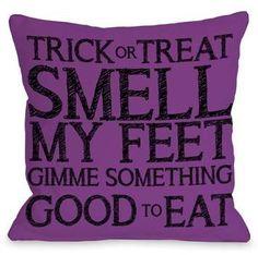 One Bella Casa Trick Or Treat Smell My Feet - Purple Black 16x16 Pillow by OBC. #pillows #purple #halloween #afflnk