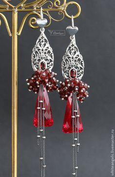 """Серьги """" RED Bouquet"""" - бордовый,красный,длинные серьги,изысканный подарок"""