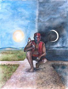 Elegba/Elegua, Lord of crossroads, Orisha of change. By Sophia Kelly Schultz (USA). Papa Legba, Orishas Yoruba, African Mythology, Yoruba Religion, Black Art, Folk Art, Spirituality, Painting, Instagram