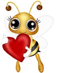 Bee with heart Cartoon Bee, Cute Cartoon, Bee Pictures, Art Mignon, Cute Bee, Bee Art, Bee Happy, Queen Bees, Bee Keeping