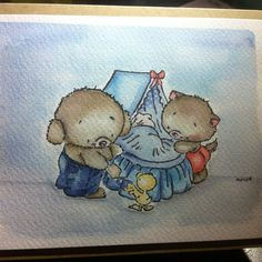 #stamped #watercoloured  #card #handmade #bears #baby #newborn