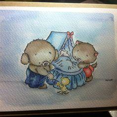 #stamped #watercoloured  #card #handmade #bears #baby #newborn