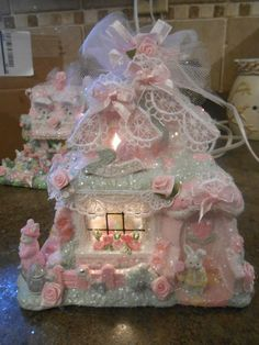 Shabby Pink Victorian Easter Village House Chic Roses Glitter Bunnies | eBay