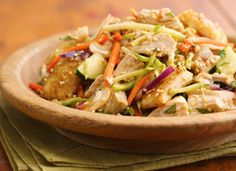 """sesame-crouton asian chicken salad from """"tablespoon""""  http://www.tablespoon.com/recipes/sesame-crouton-asian-chicken-salad-recipe/1/?utm_source=SilverpopMailing_medium=email_campaign=TBSP_Newsletter%202012_03_26%20(1)_content=The%20Best%20of%20the%20Bake%20Off%20(Oh%20Yeah%2C%20It%27s%20On)"""