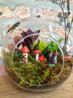 "Jumbo 8"" Fairy Houses and Green Plant Moss Terrarium with Charm - The Perfect Birthday Gift. $55.00, via Etsy."