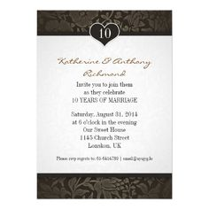 10 years wedding anniversary damask invitations from Zazzle.com