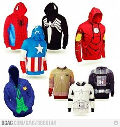 Because superhero/villain costumes are too mainstream... geekboys just want hoodies! Its geek but still cool~