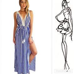 Sneak Peak...Blue & Cream Stripe Maxi Dress Cute Blue & Cream Maxi Dress w/Split. Dress has a deep V trimmed in cream lace & lace trim around arms & upper back. Has a tie belt. Sizes Small, Medium & Large Cosb Dresses Maxi