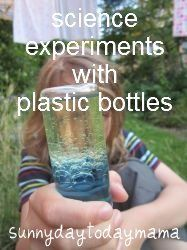 Science experiments with plastic bottles (discovery bottle, lava lamp, magnet bottle, blowing up a balloon and plastic bottle links) http://sunnydaytodaymama.blogspot.co.uk/2012/07/science-experiments-with-plastic.html