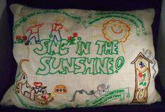 Vintage Children's Embroidered Pillow Sing In The Sunshine Nursery Rhymes 18x14