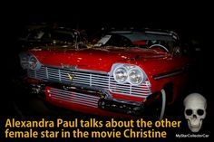 The perfect MSCC Halloween interview--Alexandra Paul explains why she still hates Christine. Here's the link: http://mystarcollectorcar.com/alexandra-paul-talks-about-christine-the-other-female-star-on-the-set-of-a-cult-classic/ #AlexandraPaul #58Plymouth #Christine
