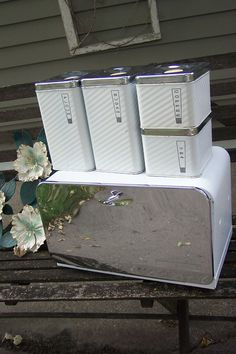 Bread Box and Canisters Set of 5 Chrome and White Lincoln BeautyWare Bridal Gift. $59.00, via Etsy.