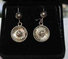 Vintage Sterling Earrings Hat Sombreo Mexico 1940s by patwatty, $18.00