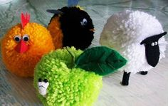 DIY Pom pom yarn crafts for kids: