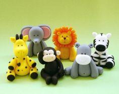 5 Fondant Animals Cake Topper - Fondant jungle safari animals