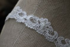 White Beaded Lace Trim with Faux Pearls and by CreationsbyLSM, $10.00