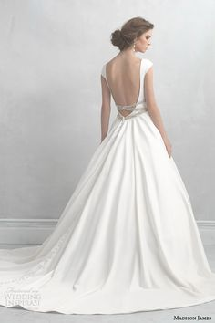 madison james wedding dresses 2014 cap sleeve satin ball gown style mj07 back view -- Allure Bridals Madison James Collection 2014 Wedding Dresses