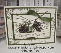Susie's CAS holiday card featuring Ornamental Pine. All supplies from Stampin' Up!