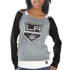 a2f491fdfed8 Los Angeles Kings Women's Holey Long Sleeve Top and Tank Top II Set -  Gray/Black