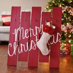 Merry Christmas Wooden Stocking Holder