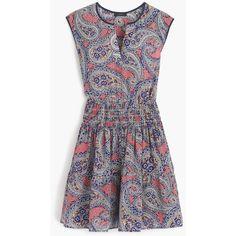J.Crew Silk Smocked-Waist Dress ($200) ❤ liked on Polyvore featuring dresses, flutter-sleeve dress, cap sleeve dress, summer dresses, summer beach dresses and smock dress