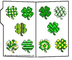 Preschool Printables : File Folder / Shamrock Pattern Match