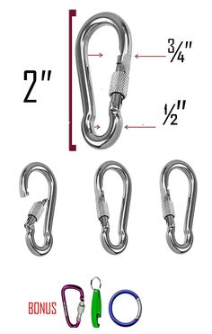 Stainless Steel 304 Spring Snap Hook Carabiner Screw Lock- 2 inch - Key Ring Hook with Spring Loaded Gate/Camping, Hiking...etc... ( D Shape Carabiner, can opener, and round carabiner included) >>> Check out the image by visiting the link.