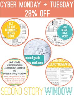Second Story Window Cyber Monday Sale - 28% off our common core favorites: morning work, homework, fluency homework, morning messages! And don't forget the Words Their Way games.