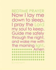 Items similar to Now I lay me down to sleep. Bedtime Prayer in cherry blossom, sage and ivory on Etsy Prayer Partner, Prays The Lord, Bedtime Prayer, Prayers For Children, Night Prayer, Lay Me Down, Answered Prayers, Power Of Prayer, Morning Light