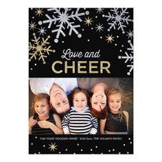 Love and Cheer Photo Cards   Silver Gold Sparkle