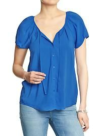 Women's Cap-Sleeve Rayon Blouses