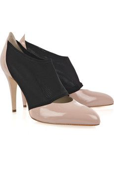 Dang. Monroe patent-leather and mesh pumps by Brian Atwood.