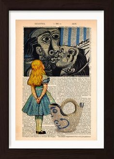 Alice meets Pablo Picasso's The Kiss - a4 print is €20 from JamArtPrints.com. Designed & signed by Irish artist Pat Byrne this unique and colourful illustration is printed on a upcycled 1890's French Dictionary Page making each copy unique. The perfect gift or wall art addition for any home decor interior design project. #jamartprints #art #artwork #wallart #welldecor #wallhanging #diyhomedecor #wonderland French Dictionary, How To Age Paper, Irish Art, Antique Books, Pablo Picasso, Sign Design, A4, Pop Culture, Upcycle
