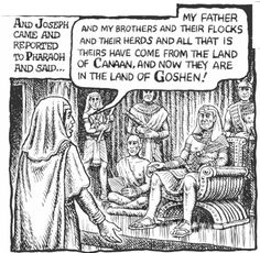 Robert Crumb - The story of Joseph & his brothers - Joseph tells Pharaoh about the settlement of his family (Genesis 47:1)
