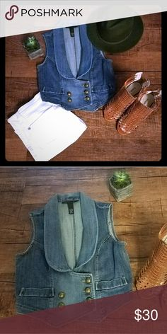 Military-style Demin Vest Denim military-style vest. 98% cotton, 2% spandex. Brass button detail and feminine seeming.  Great for the summer paired w white jeans or pair with a loose sweater and boots during the winter. INC International Concepts Jackets & Coats Vests