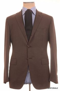 SARTORIA PARTENOPEA Hand Made Napoli Solid Brown Wool Suit NEW