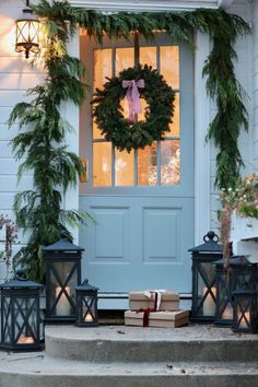 How to mix fresh & faux greens in your holiday decor - French Country Cottage