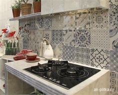 фартук кухни из разной плитки - Поиск в Google