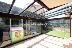 techos de cristal con cortinas de cristal