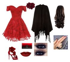 """""""blood red"""" by clockwork15 ❤ liked on Polyvore featuring beauty, Accessorize, Giuseppe Zanotti, Christian Louboutin and Anastasia Beverly Hills"""