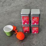 Kit con 4 diferentes sabores de té y tisanas con 1 infusor de silicon con base de cerámica.