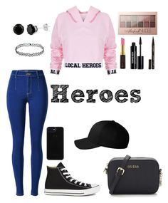 """""""Heroes"""" by taneyiah on Polyvore featuring Local Heroes, Converse, Maybelline, Kevyn Aucoin, Edward Bess, Smith & Cult and Flexfit"""