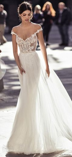 16a84352e7 Love this style and color - gali karten 2017 bridal off the shoulder v neck  heavily embellished bodice tulle skirt romantic a line wedding dress sweep  train ...