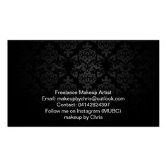 Makeup Artist Elegant Dark Damask Pack Of Standard Business Cards