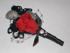 Boutonniere Red & Black Feathers, Rhinestones Rose Groom, Wedding Accessories Groom. $18.00, via Etsy.