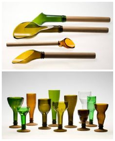 Made by Laurence Brabant. Collected old wine bottles which are then cut and chamfered. Cork or beech are used for the wooden parts. ++ Laurence Brabant…                                                                                                                                                                                 More